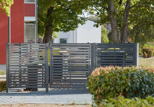 Müllcontainer-Einhausung abschliessbar, Sichtschutz für Mülltonnen in verschiedenen Varianten bei www.business-supporter.ch
