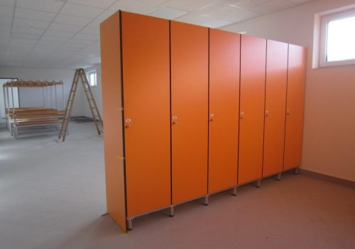 Freistehende Garderobenbänke, HPL mandarin