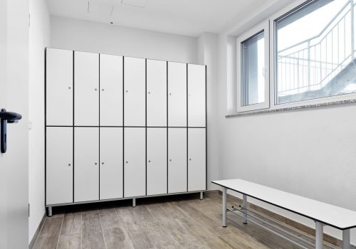 Sozialraum Schränke, Sitzbänke, WC, weiss, 180980